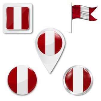 Set icons nationalflagge von peru
