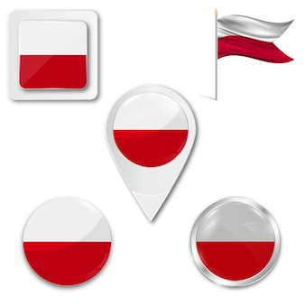 Set icons nationalflagge von polen