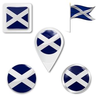 Set icons nationalflagge von schottland