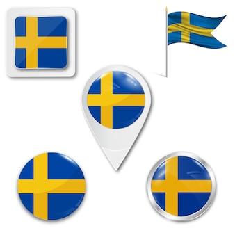 Set icons nationalflagge von schweden