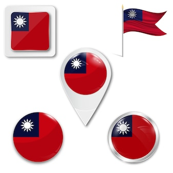 Set icons nationalflagge von taiwan
