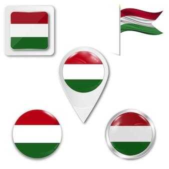 Set icons nationalflagge von ungarn