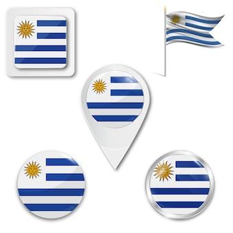 Set icons nationalflagge von uruguay