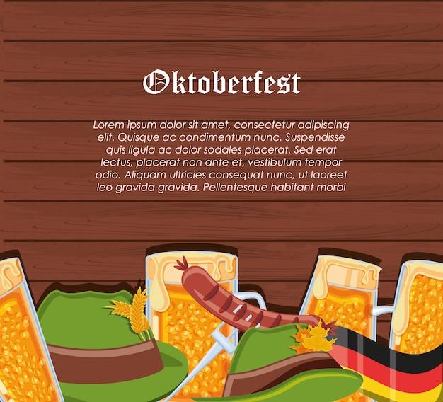 Set icons oktoberfest feier