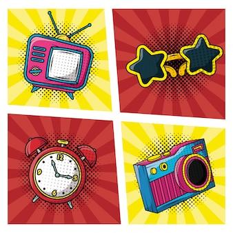 Set icons pop-art-stil