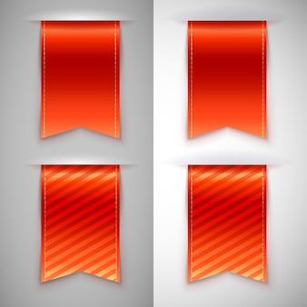 Set ikonen des roten farbbands, lesezeichen