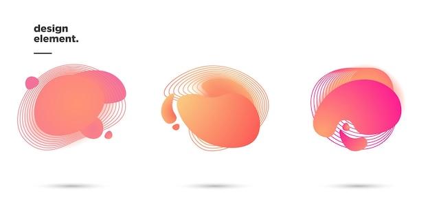 Set illustration vektorgrafik von modernen abstrakten dynamischen farbigen formen und linienelementen. fließende flüssige formen des abstrakten hintergrundes der steigung. vorlage für die gestaltung eines flyers, präsentation