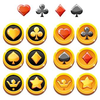 Set illustration von goldikonen und münzen von spielkarten, isoliert