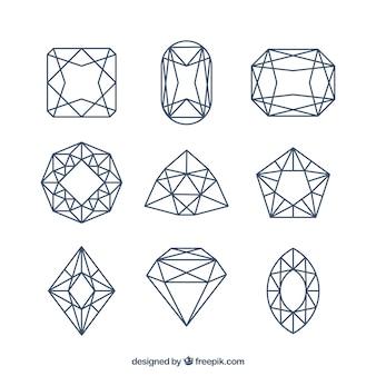Set in gerader linie diamanten