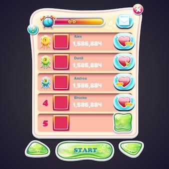 Set information panel mit schönen glänzenden tasten und den verschiedenen elementen des spieldesigns für computerspiele