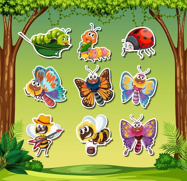 Set insektenaufkleber