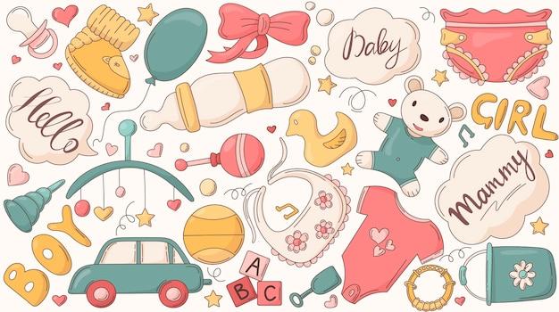 Set isolierter aufkleber zur dekoration zum thema kindheit und dinge für neugeborene