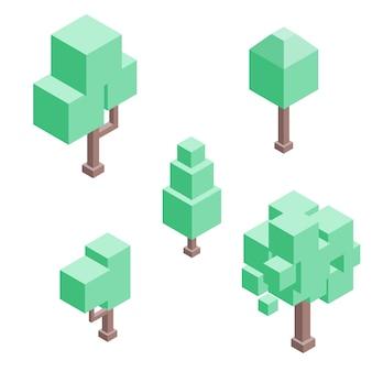 Set isometrische bäume. isolierte vektor.