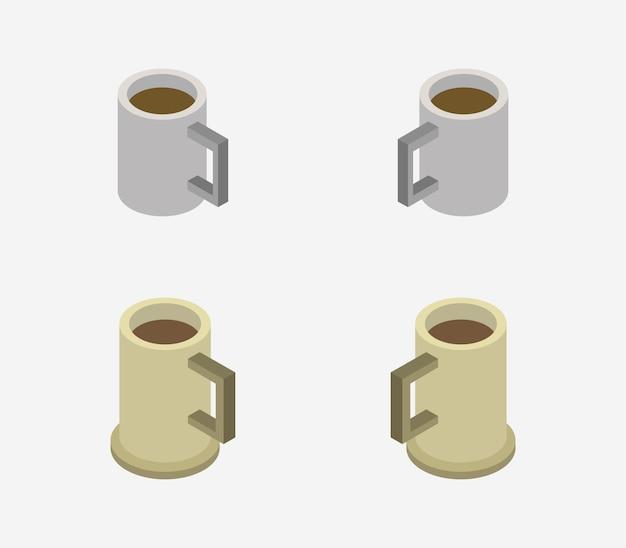 Set isometrische kaffeetassen