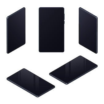 Set isometrischer realistischer mobiltelefone mit schwarzem leerem bildschirm für die präsentation von ui, ux, app einzeln auf weiß. für mockups und website-vorlagen. vektor-illustration.