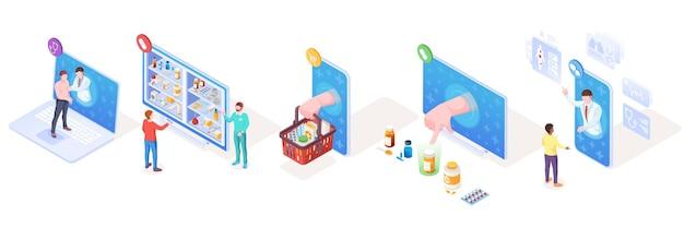 Set isometrischer vektorzeichen für medizinische online-unterstützung und apotheken-medikamentenlieferung und arzt