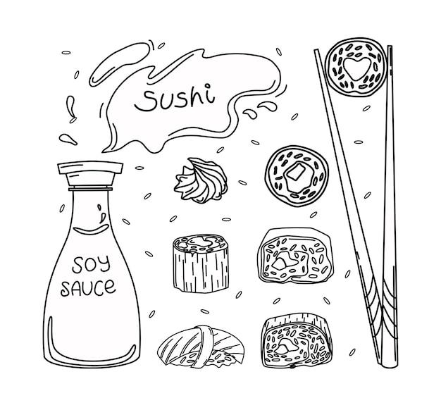 Set japanischer küche sushi, sojasauce, wasabi, essstäbchen. kontur vektorgrafik.
