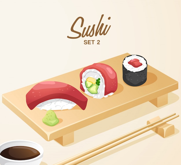 Set japanisches essen: mixed sushi set auf holzteller
