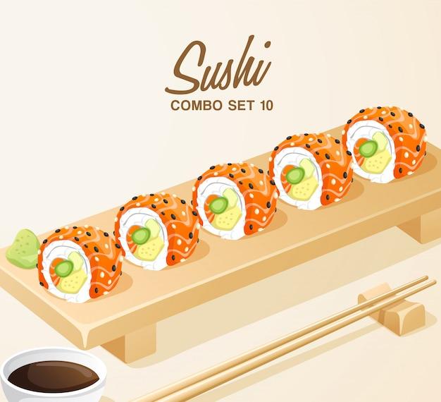 Set japanisches essen: sushi-rollen set auf holzteller