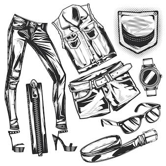 Set jeans-elemente zum erstellen eigener abzeichen, logos, etiketten, poster usw. auf weiß isoliert.