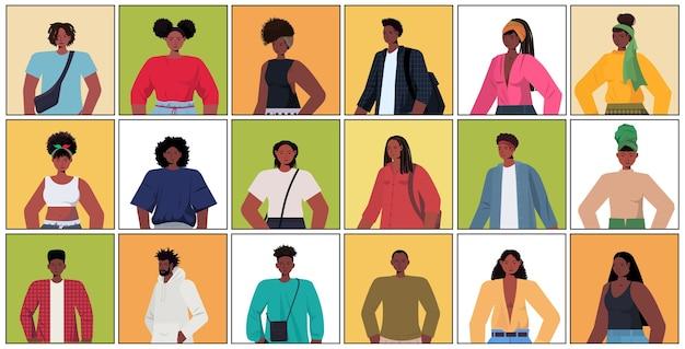 Set junge frauen männer in lässigen trendigen kleidern afroamerikaner männlich weiblich comicfiguren sammlung porträt horizontal