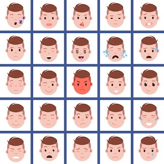 Set junge kopf emoji persönlichkeit symbol mit gesichts-emotionen, avatar-charakter, gesicht mit unterschiedlichen männlichen emotionen konzept
