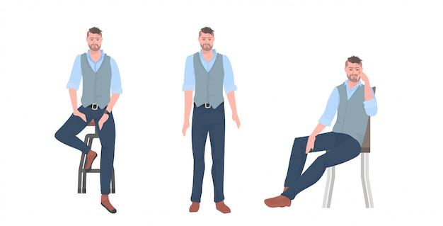 Set junger mann in verschiedenen posen männliche zeichentrickfigurensammlung in voller länge horizontal