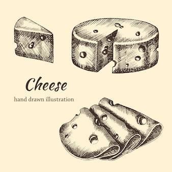 Set käse handgezeichnet in scheiben geschnitten und mit trauben im vintage-stil. skizzieren. illustration
