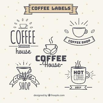 Set kaffee aufkleber vintage-stil