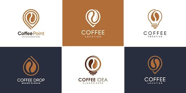 Set kaffee logo sammlung mit verschiedenen elementen pin drop ideenstil premium-vektor