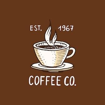 Set kaffee. moderne vintage-elemente für das shop-menü. illustration. dekorationssammlung für abzeichen. kalligraphiestil für rahmen, etiketten. . gravierte hand in alter skizze gezeichnet.
