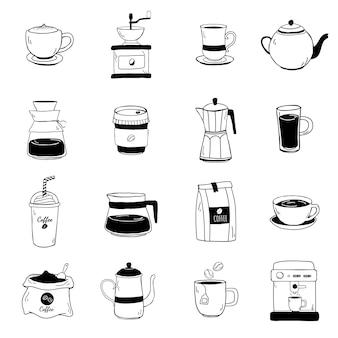 Set kaffeestubeikonenvektor