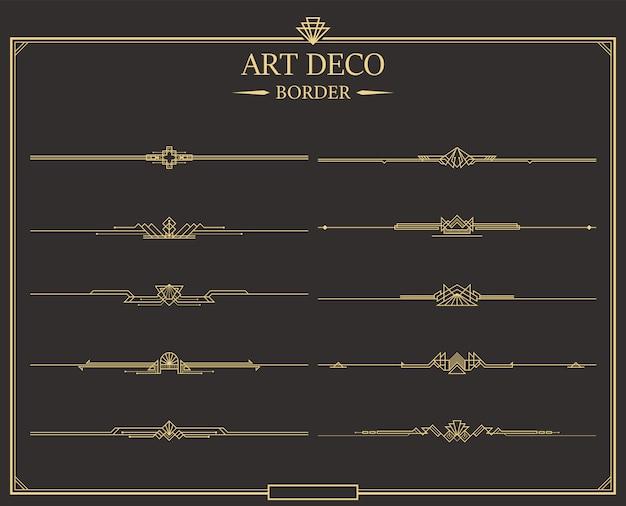 Set kalligraphische seitenteiler aus art-deco-gold.