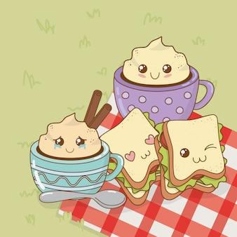 Set kampierende nahrung kawaii charaktere