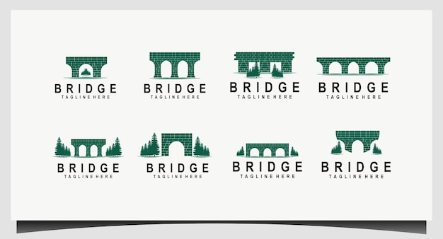 Set kanal / wasserstraße brick bridge logo