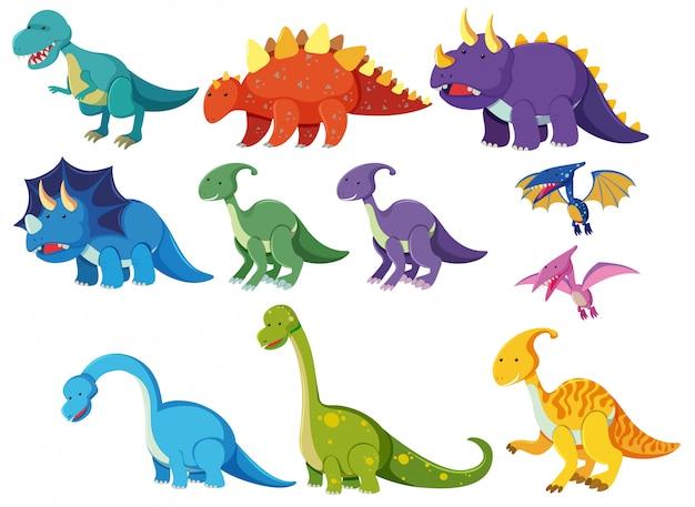 Set karikaturdinosaurier