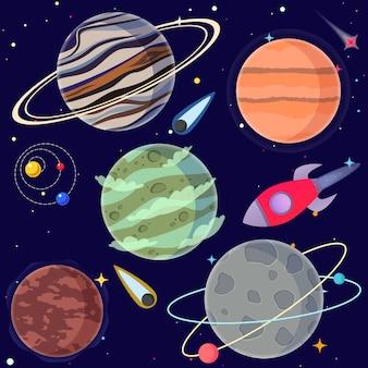 Set karikaturplaneten und raumelemente.