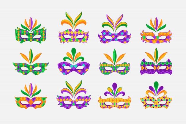 Set karnevalsmasken