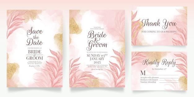 Set karten mit blumenschmuck rosa hochzeitseinladung vorlage design glitzer blätter