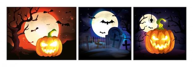 Set karten mit halloween-szenen