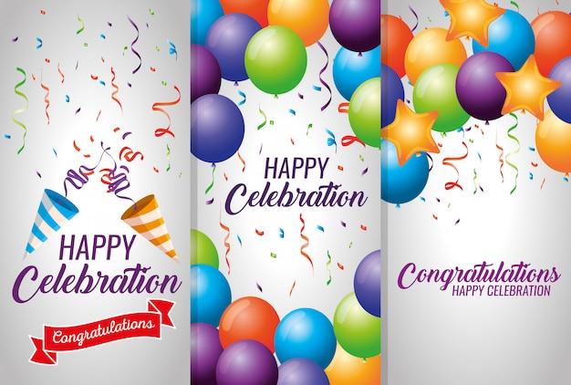 Set karten mit luftballons und konfetti dekoration