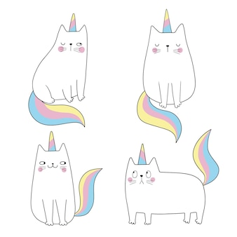 Set katzen einhorn lustige katze wie einhorn glauben sie an magie lustige vektorillustration