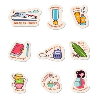 Set kawaii sticker doodle set fashion patch design collection