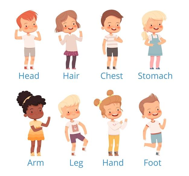 Set kinder zeigen auf verschiedenen körperteilen mit unterschriften.