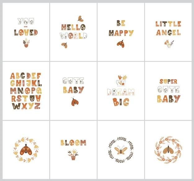 Set kindergartenposter mit süßen zitaten, schmetterlingen und blumen. vektor-illustration.