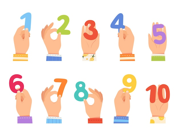 Set kinderhände halten verschiedenfarbige zahlen.