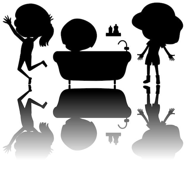 Set kindersilhouette mit reflex