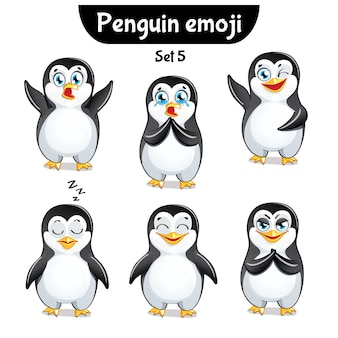 Set kit sammlung aufkleber emoji emoticon emotion isoliert illustration glücklichen charakter süß, niedlichen pinguin