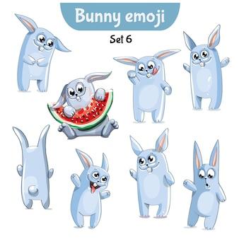 Set kit sammlung aufkleber emoji emoticon emotion vektor isoliert illustration glücklichen charakter süß, niedlich weiß kaninchen, hase, hase.