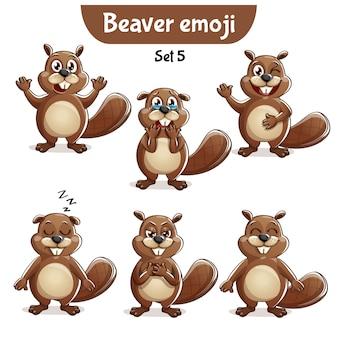 Set kit sammlung aufkleber emoji emoticon emotion vektor isoliert illustration glücklichen charakter süß, niedlichen biber